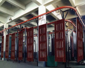 Powder coating line for aluminum pipe