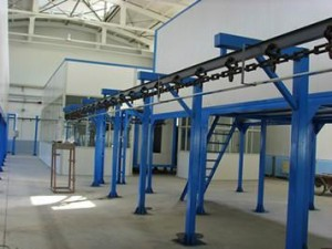 Hanging chain conveyor line