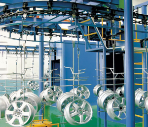 Powder coating line for bicycle parts