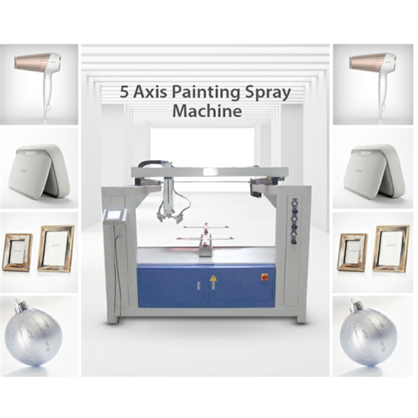Five axis reciprocating paint spraying system for plastic frame shell