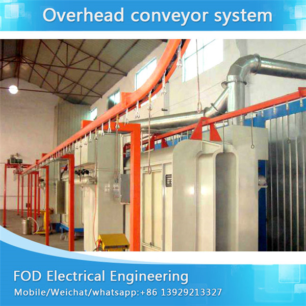 Hanging chain conveyor system for powder coating plant